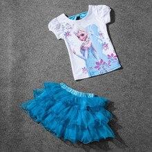 Hot Sale 2018 New Girls Princess Elsa Dress + T shirt 2 Pcs Set 3-8Age Sky Blue Layered Tutu Dress Sets Vestidos