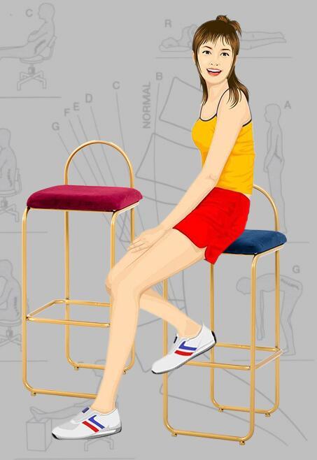 Tabouret de bar nordique moderne minimaliste lumière luxe tabouret haut chaise en métal en fer forgé maison personnalité créative chaise de bar