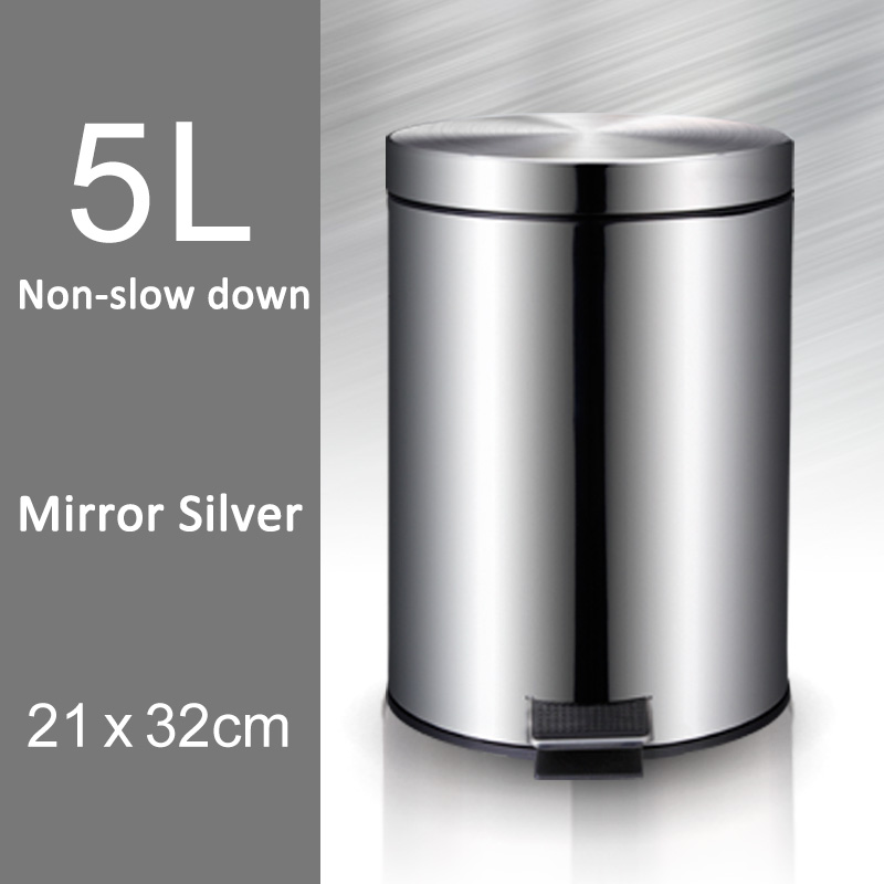 5L Trash Can Kitchen Living Room Office Garbage Dust Bin Bathroom Storage Rubbish Bucket Storage Box Pedal Waste Can Silver недорго, оригинальная цена