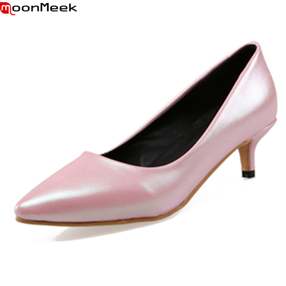 MoonMeek 2018 extreme high heels shoes slip on pointed toe shallow pointed toe party wedding shoes thin heel women pumps high quality women shoes colorful rhinestone shallow mouth high heels mature women pumps round toe slip on party wedding shoes