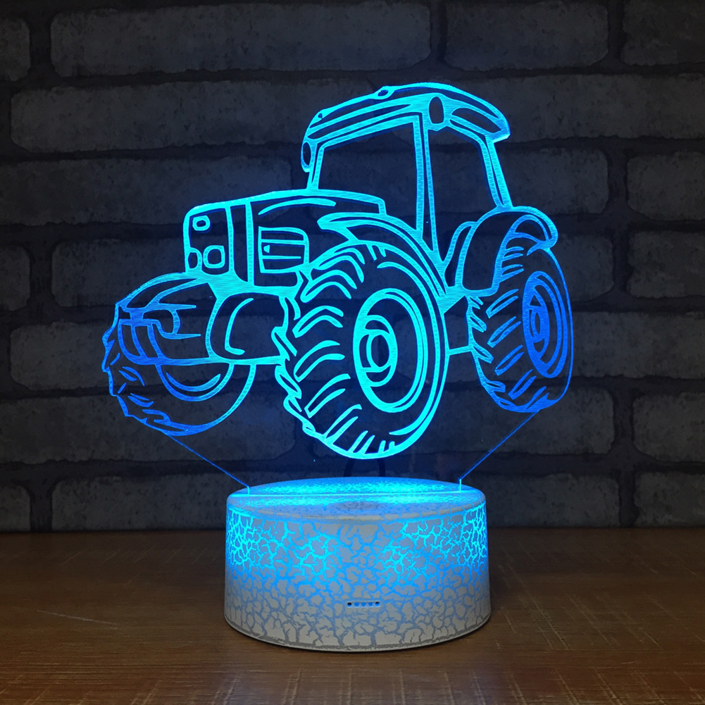3D Night Lights Tractor 3D Night Light 7 Colors Change Led Table Desk Lamp Home Kids Gift New Ornaments Decoration #D3