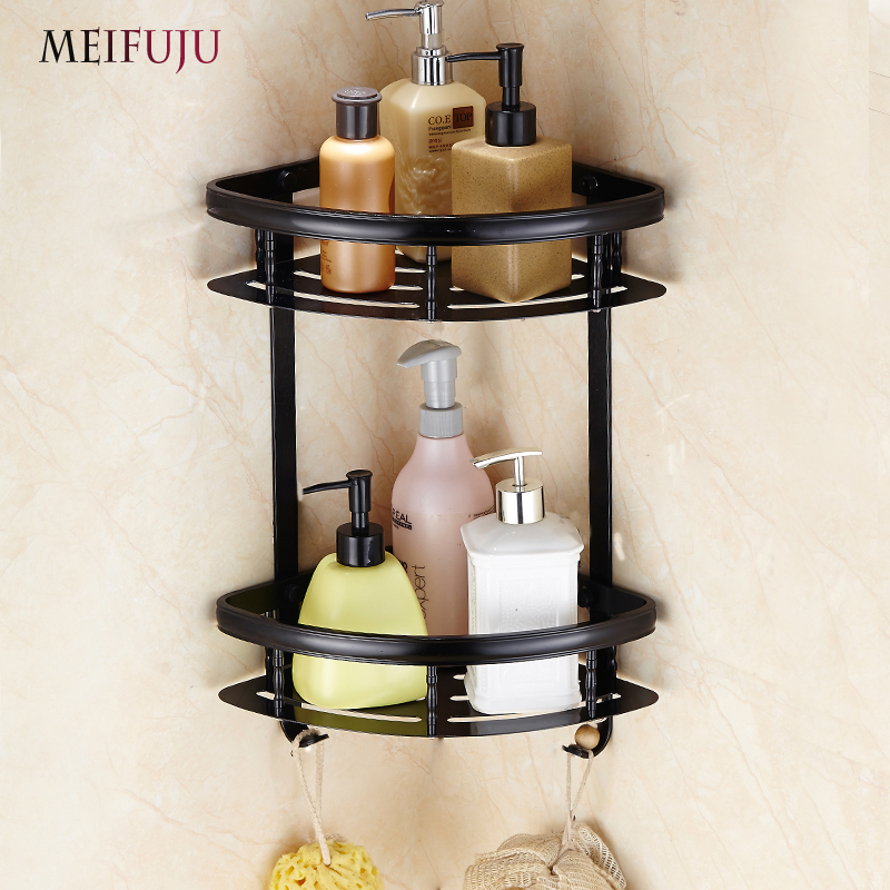 MEIFUJU Aluminum Wall Mounted Bathroom Shelves Cosmetic Rack with Single Tier Bathroom Shelf Black Shelves With Hooks MFJ3207 free shipping single tier bathroom aluminium shelf with towel bar rack wall mounted kitchen storage organizer shelves 50 12 12cm