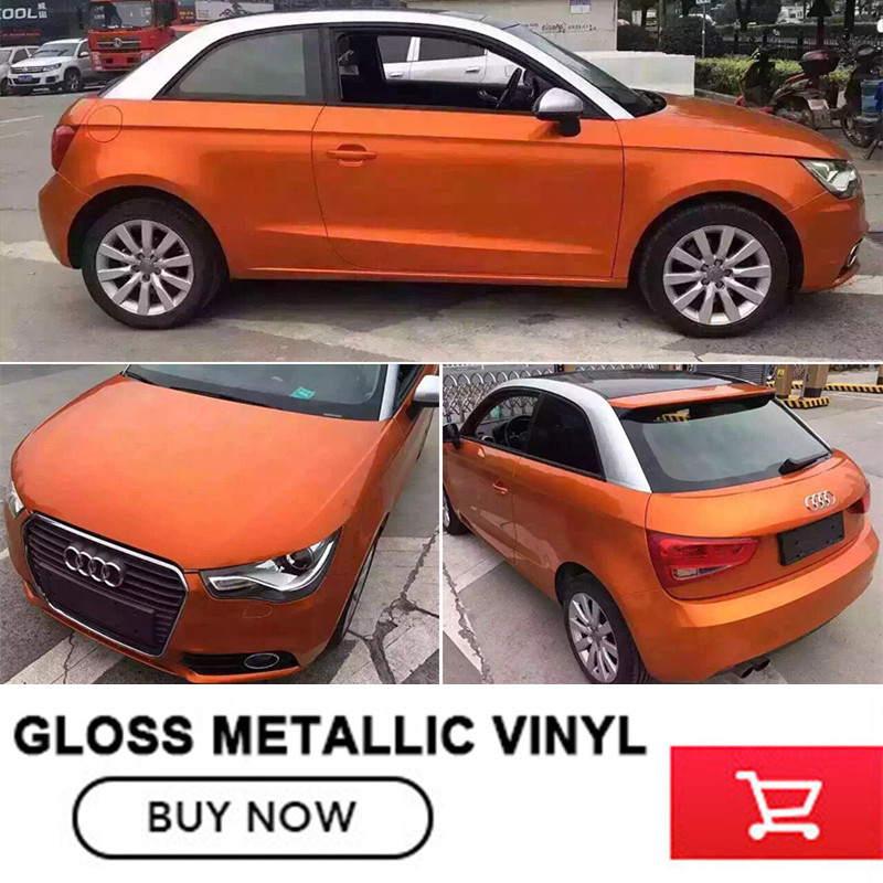 car accessories chrome orange gloss metallic car vinyl wrap 1.52x20m/Roll /5ftx65ft color changing film Prevent scratching paint helo he866 gloss black wheel with chrome accents 20x8 5 6x135mm