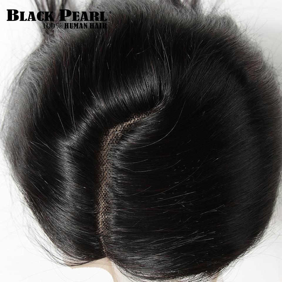 100% de pelo humano Remy con cierre de encaje, Perla Negra, 5x6, Parte L, 100% recta malaya, Color Natural, 10-20 pulgadas