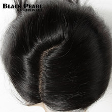 Siyah inci 5*6 dantel kapatma L parça 100% malezya düz % 100% Remy İnsan saç kapatma ile bebek saç 10-20 inç doğal renk