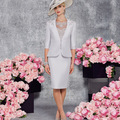 Simple Longitud de La Rodilla Elegante de Plata Madre de la Novia Viste 2016 Medias Mangas Formal de la Tarde Vestido de la Madre del Novio vestidos