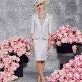 Simples e Elegante Na Altura Do Joelho Mãe de Prata dos Vestidos de Noiva 2016 Metade Mangas Formal Vestido de Noite Mãe dos vestidos de Noivo vestidos