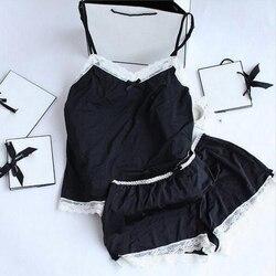 Женские пижамы, сексуальные кружевные шелковые пижамы, комплект нижнего белья, одежда для женщин, черная Пижама на бретелях, Дамский халат, ...