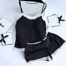 font b Women b font font b Pajamas b font Sexy Lace Silk Pyjamas Set
