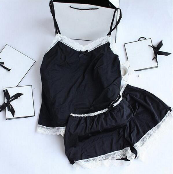 Pijama de mujer Sexy de encaje de seda Pijama conjunto ropa de lencería para mujer correas negras Pijama de mujer Albornoz Pijama traje de Pijama