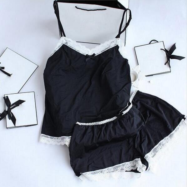 Women Pajamas Sexy Lace Silk Pyjamas Set Lingerie Clothes For Women Black Straps Pijama Ladies Bathrobe Sleepwear Pajama Suit