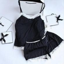 Women Pajamas Sexy Lace Silk Pyjamas Set Lingerie Clothes For Women Black Straps Pijama Ladies Bathrobe