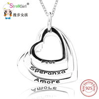 Strollgirl Personalized Custom Name Necklace Pendant 925 Sterling Silver String Hollow Hearts Necklace For Women Jewelry
