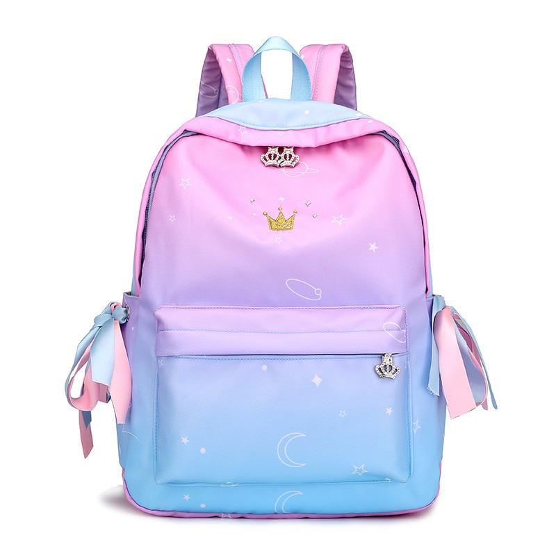 2018 Gradient Color Teenager Girls School Backpack Women Knapsack Kawaii Female  Travel Mochila Feminina