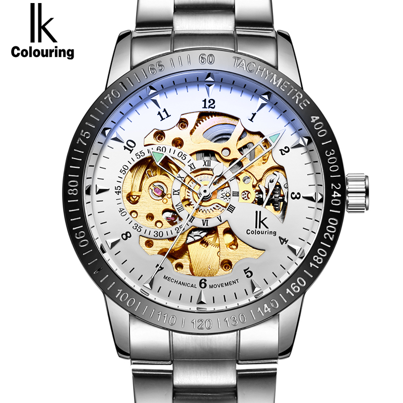 IK colouring Men's Watch Hollow Skeleton Automatic Mechanical Stainless Steel Wristwatch Skull Designer Luminous Men Watches ik luxury fashion casual stainless steel men automatic mechanical watch skeleton watch for men s dress wristwatch free ship