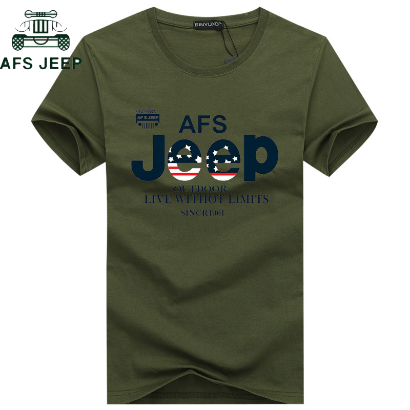 AFS JEEP Brand Summer T Shirt Men Cotton Short Sleeve Military T-shirt Army Tactical TShirt Plus Size M-5XL Tee Shirt Homme
