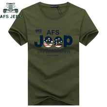AFS JEEP Brand Summer T Shirt Men Cotton Short sleeve Military T-shirt Army Tactical TShirt Plus Size M-5XL tee shirt homme(China)
