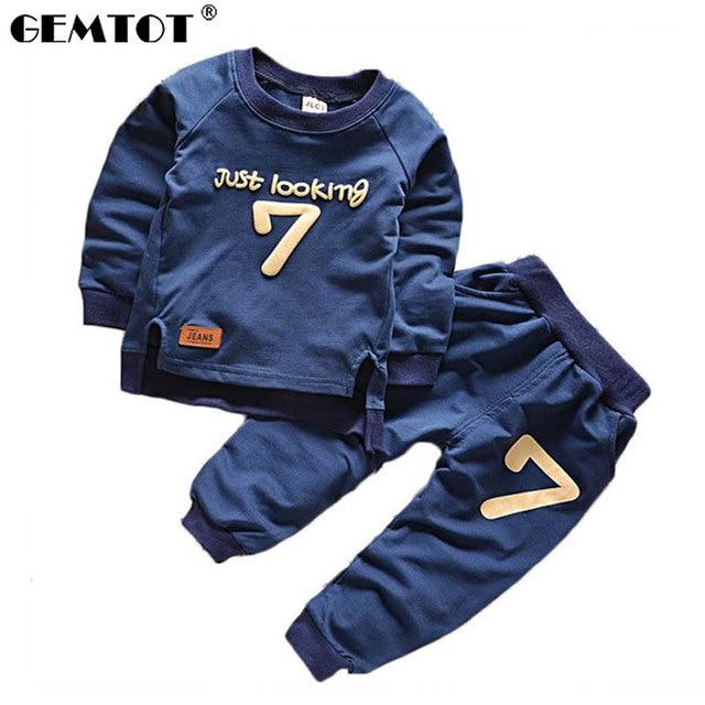 GEMTOT Boys Clothing Suit 2017 Summer New Baby Boy Pattern Digital Long Sleeve Kids Clothes Children Clothing Set k1 k1