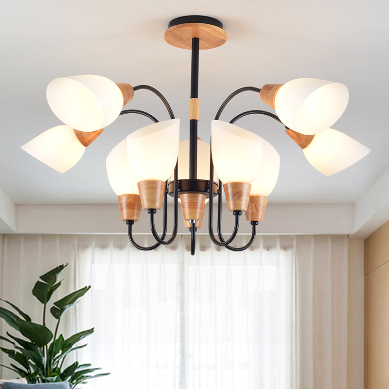 American chandelier wood art iron lamp creative personality bedroom light post-modern tree lamp living room ZL12 недорого