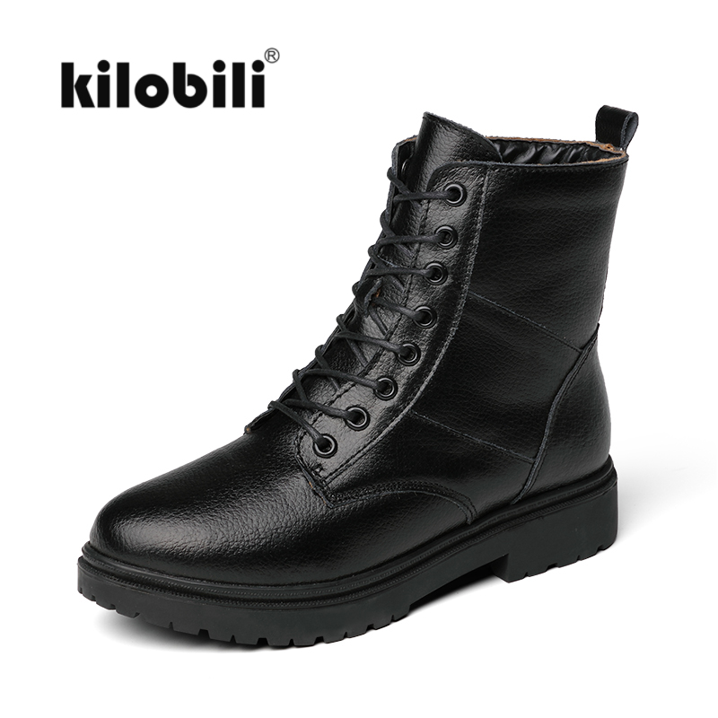kilobili Women winter Motorcycle Ankle Boots shoes women short Snow work safety boots women warm plush leather army boots 2018