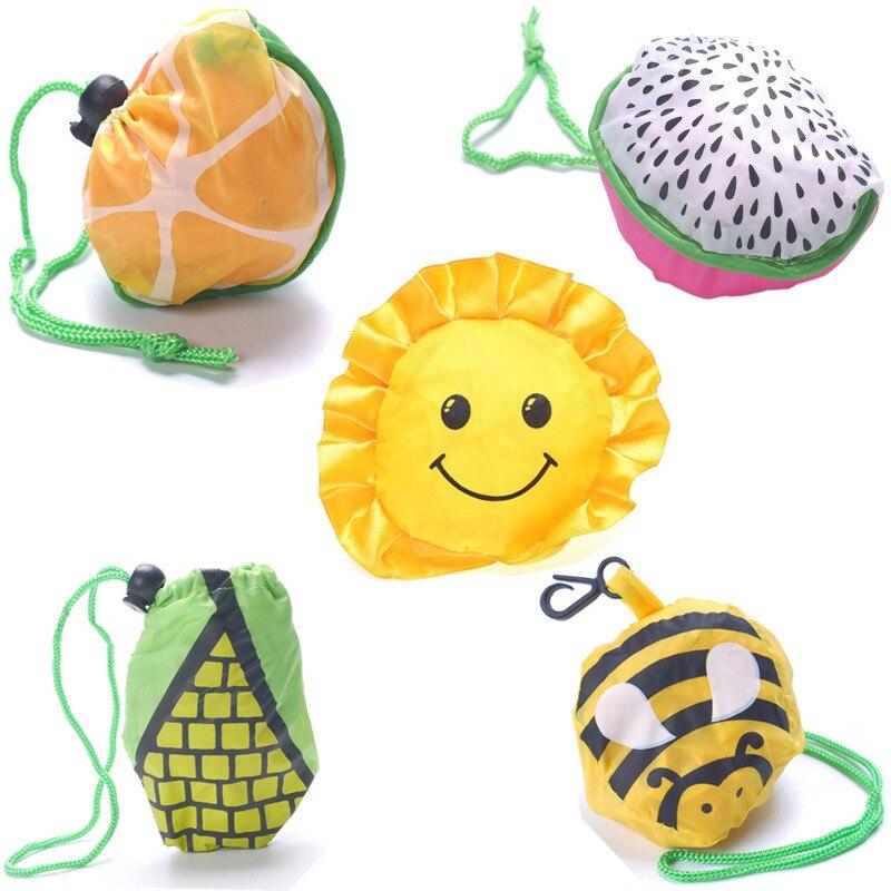 Eco Friendly Foldable Shopping Bag Cartoon Animal Flower Printed Reusable Polyester Shoulder Bag Women Portable Grocery Bags