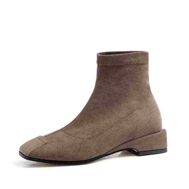 Superstar akın kayma kare ayak düşük topuklu kadın yarım çizmeler muhtasar streç çizmeler parti zarif sıcak kış ayakkabı tutmak L8f1