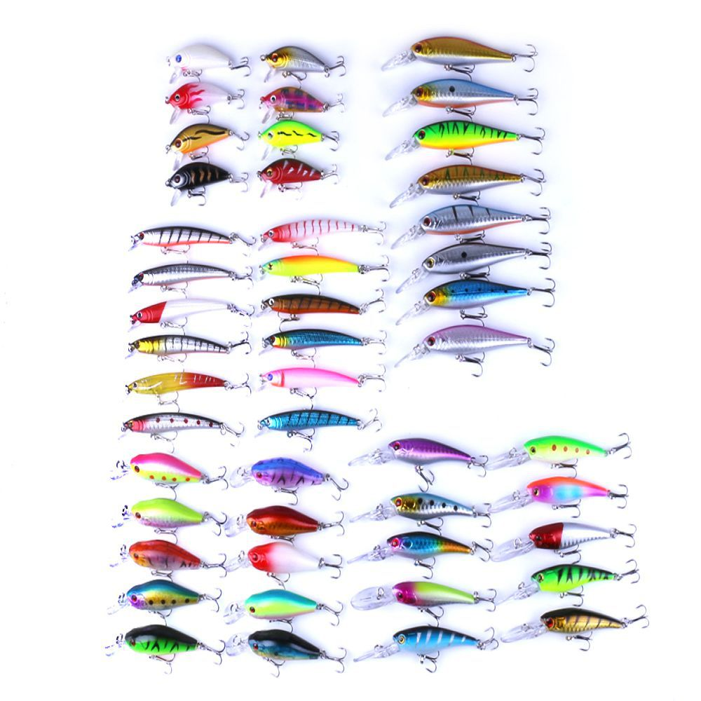 48pcs Fishing Lure Set Mixed 5 Model Minnow Lure Isca Artificial Professional Crankbait Pesca Wobblers Bass Carp Fishing Tackle 30pcs set fishing lure kit hard spoon metal frog minnow jig head fishing artificial baits tackle accessories