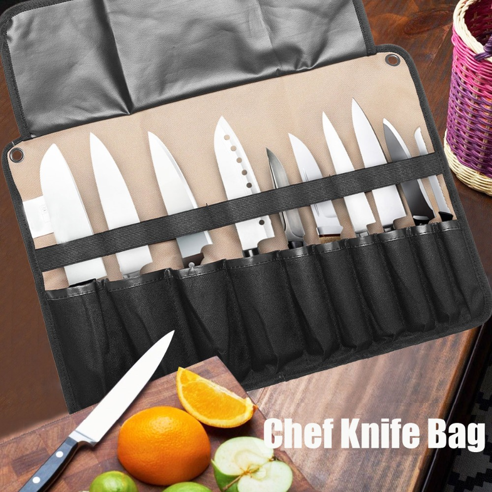 Hot Sale Coffee Portable Chef Knife Bag Roll Bag Carry Case Bag Kitchen Cooking Tool Portable Storage Bag 10 Pockets Home Garden