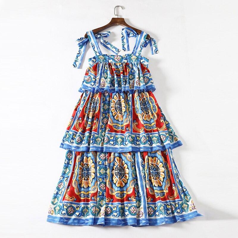 d65bbdaa4d2 Floral Robe 2019 Volants De Femmes Robes Piste Rouge Conception Imprimé  Cascade Qualité Midi Bleu Manches Et ...