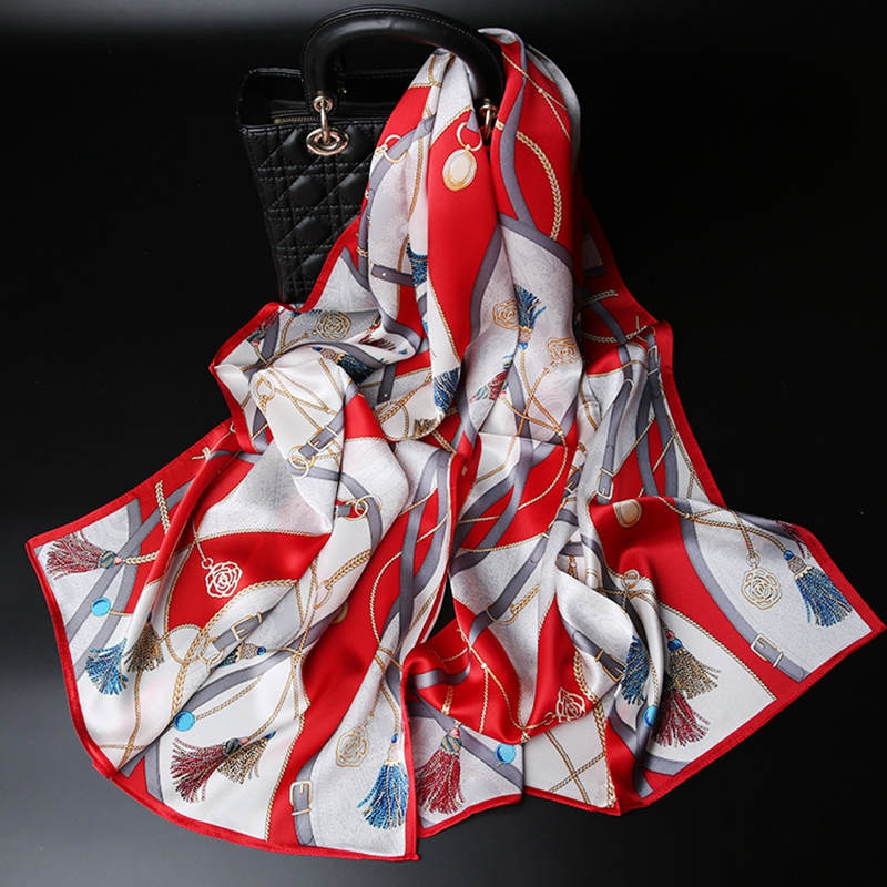 Tassels & Belts Prints Long Silk   Scarf   Shawl Women High Quality 100% Pure Silk Scarfs   Wraps   Foulard 175x53cm