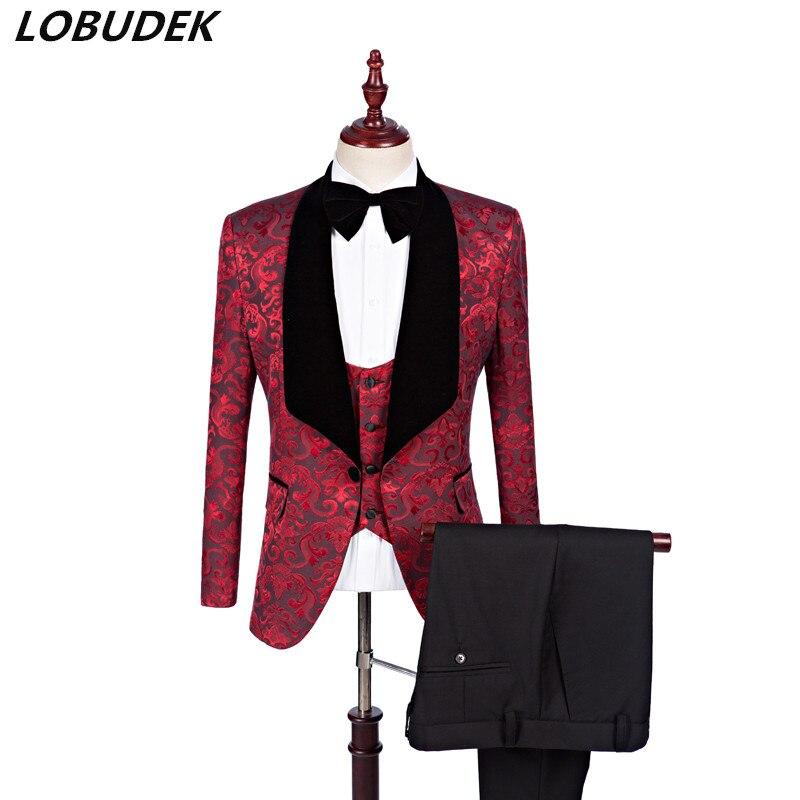 Мужские костюмы из ткани с узором на заказ, свадебное платье, формальные комплекты из 3 предметов, деловая одежда в английском стиле, модный