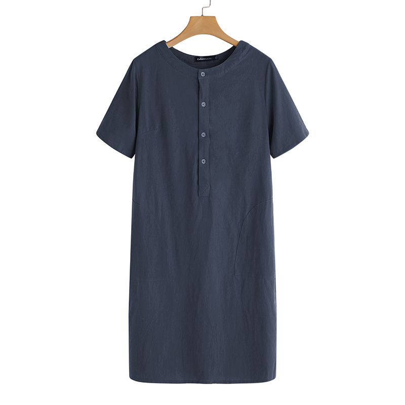 Summer Linen Dress 19 Celmia Women Tunic Top Short Sleeve Shirt Button Female Vintage Casual Sundress Sarafans Vestidos S-5XL 17