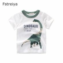 Baby tops boys Cotton T shirt Fstreiya summer 2019 new kids tiny cottons dinosaur Tees children animal print clothes white