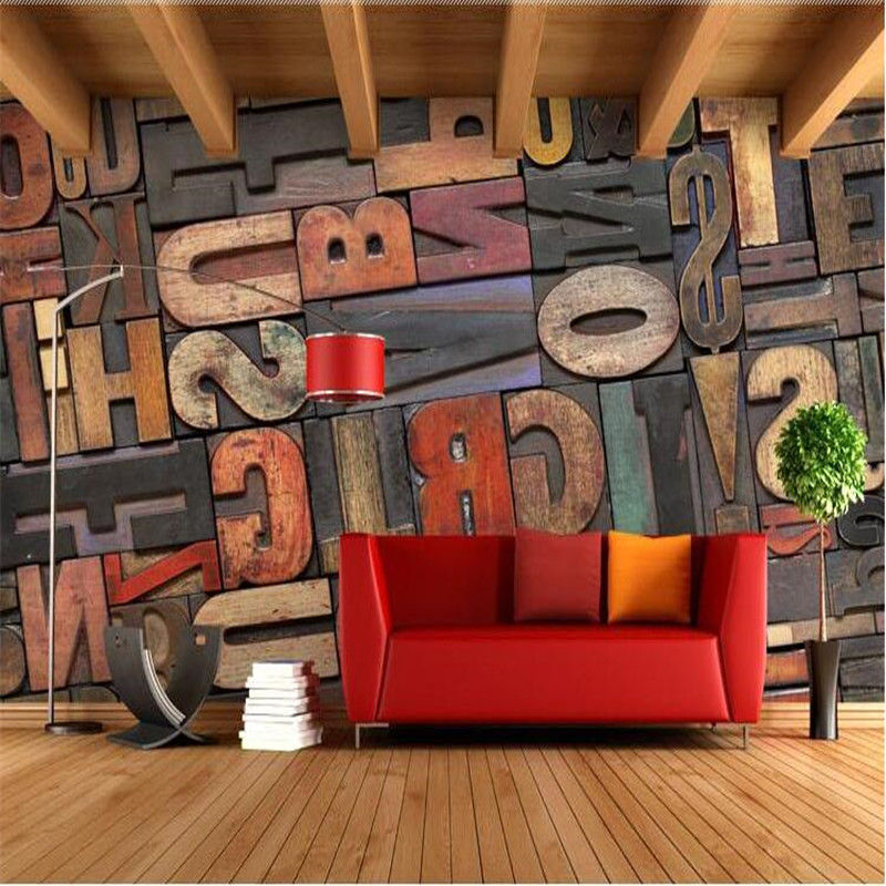 photo wallpaper High quality 3D stereoscopic wood alphabet wall paper Cafe Bar wallpaper mural painting for living room junran america style vintage nostalgic wood grain photo pictures wallpaper in special words digit wallpaper for living room