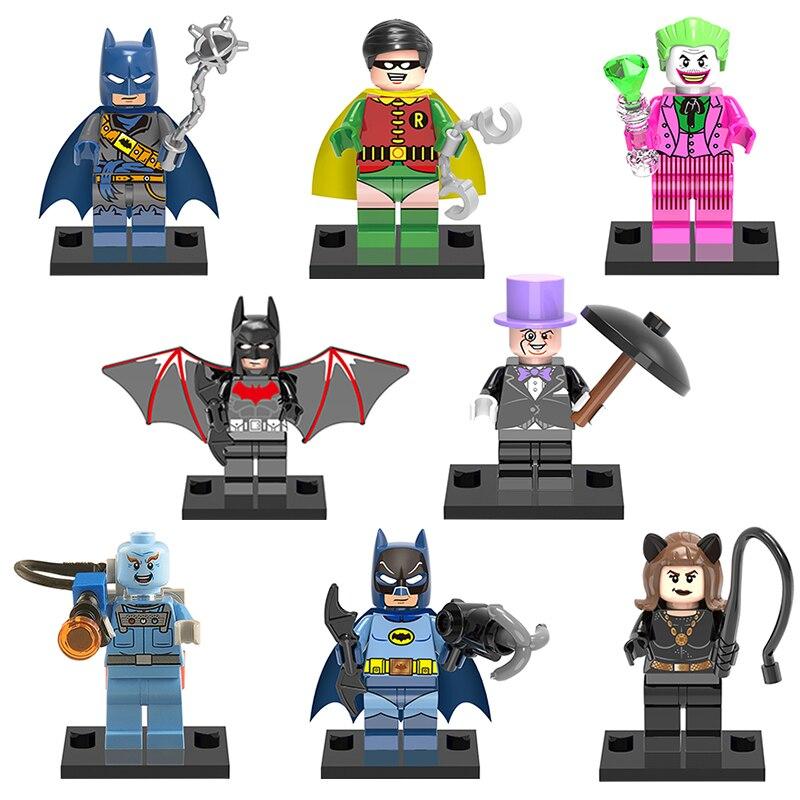 DC Super Heroes XINH 128-135 Batman Robin Joker Catwoman 8pcs/lot Building Blocks Model Gift