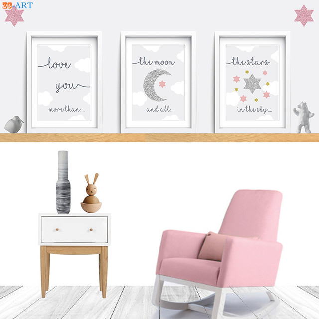 Nursery Wall Art Moon Cloud Poster Quotes Prints Pink And Grey Photo Cartoon Canvas Painting Home