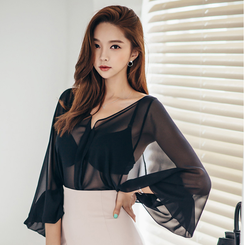 women sexy OL transparent lanten oversize long sleeve blouse v neck chiffon shirt 2018 new lady fashion blusa femme blusa blusa