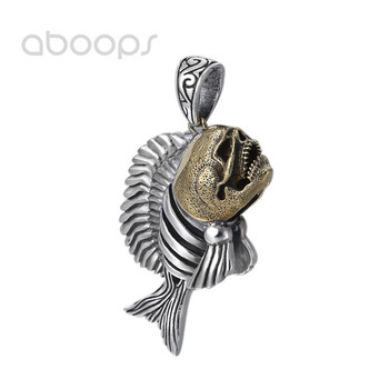 Gothic Two Tone 925 Sterling Silver Piranha Fish Pendant for Men Women Free Shipping
