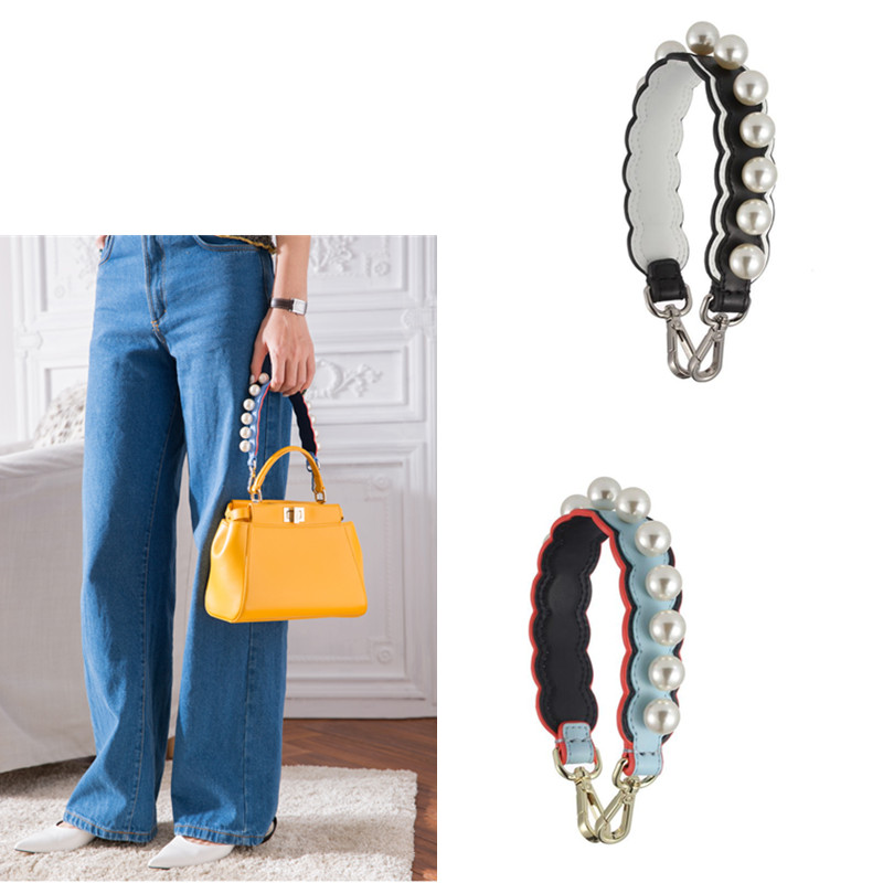 Fashion Pearl Wide Strap Handbag Short Strap Genuine Leather Handles Women Bag Accessories Handbag Straps Replacement Parts