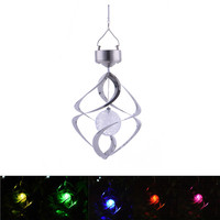 Hote Color Changing Solar Powered LED Wind Powered Garden Light Outdoor Courtyard Garden LED Wind Spinner Hanging Spiral Lamp