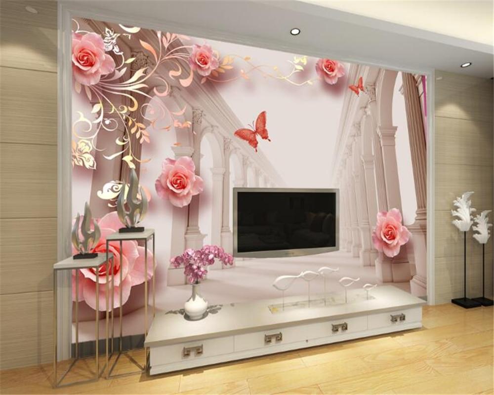 simple bedroom background living modern rose mural wallpapers beibehang 3d tv