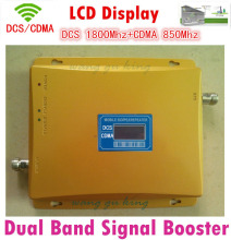 Dual Band 65dBi 2G 4G CDMA DCS Mobile Phone Signal Repeater ,850mhz 1800mhz gsm Booster Amplifier Extender Double signal bar