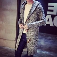 Autumn and winter sweaters male long cardigan sweater sweater coat hooded cloak men big yards