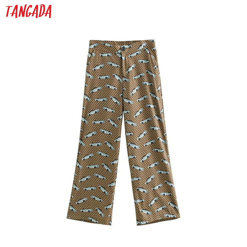 Tangada Woman Vintage Cartoon Print Long Pants Fashion Button Retro Female Casual Cozy Trousers Mujer BE305