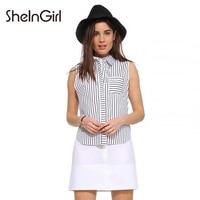 SheInGirl Summer Women Dress White Stripe Patchwork Double Layer OL Polo Shirt Dress Vestidos Sleeveless Bodycon