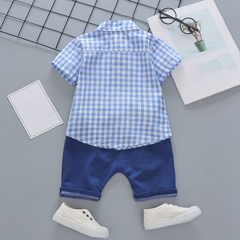 Toddler Boys Plaid Print Short Sleeve Tops with Shorts Outfit 31