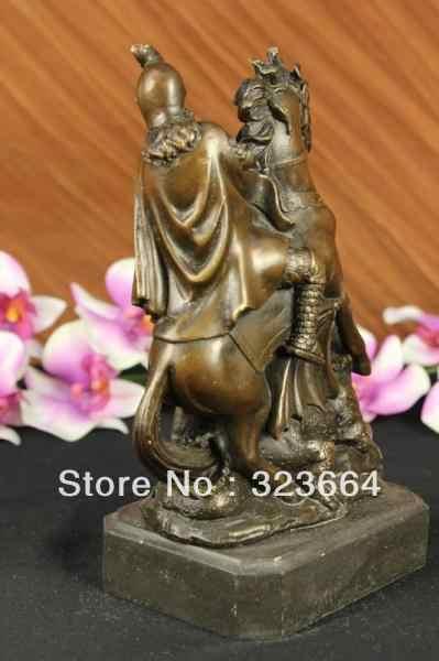 Сент-Джордж Убийца Драконов Бронзовая Статуя Военные Святая Католическая Покровитель Скульптура