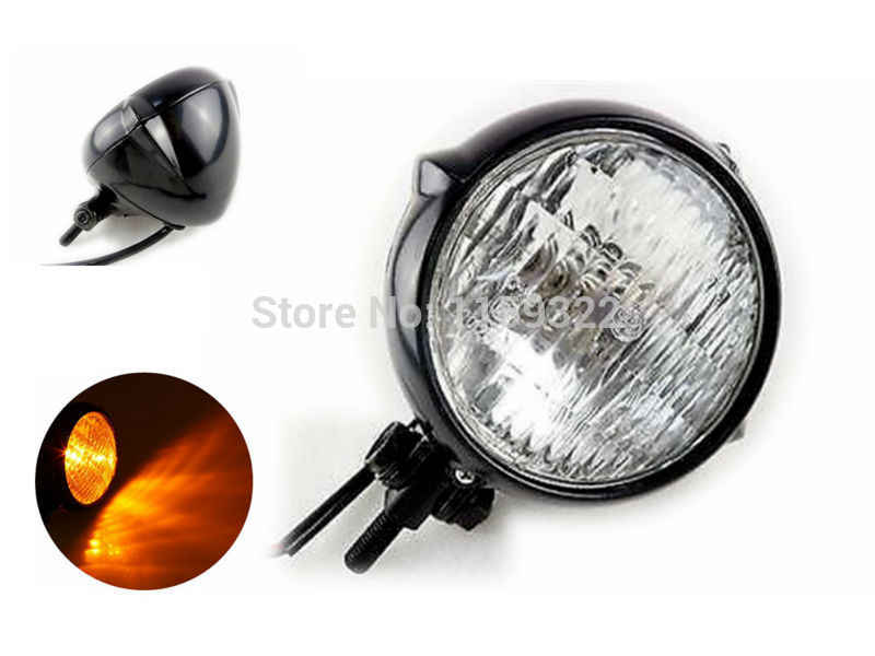 POSSBAY 5'' 12V Retro Motorcycle Headlight for Harley Honda