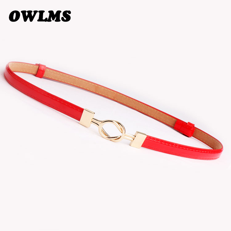 New Belts For Women Patent Leather Waistband Gold Hasp Buckle Fashion Thin Adjust Cummerbunds Dress Candy Color Ceinture Femme