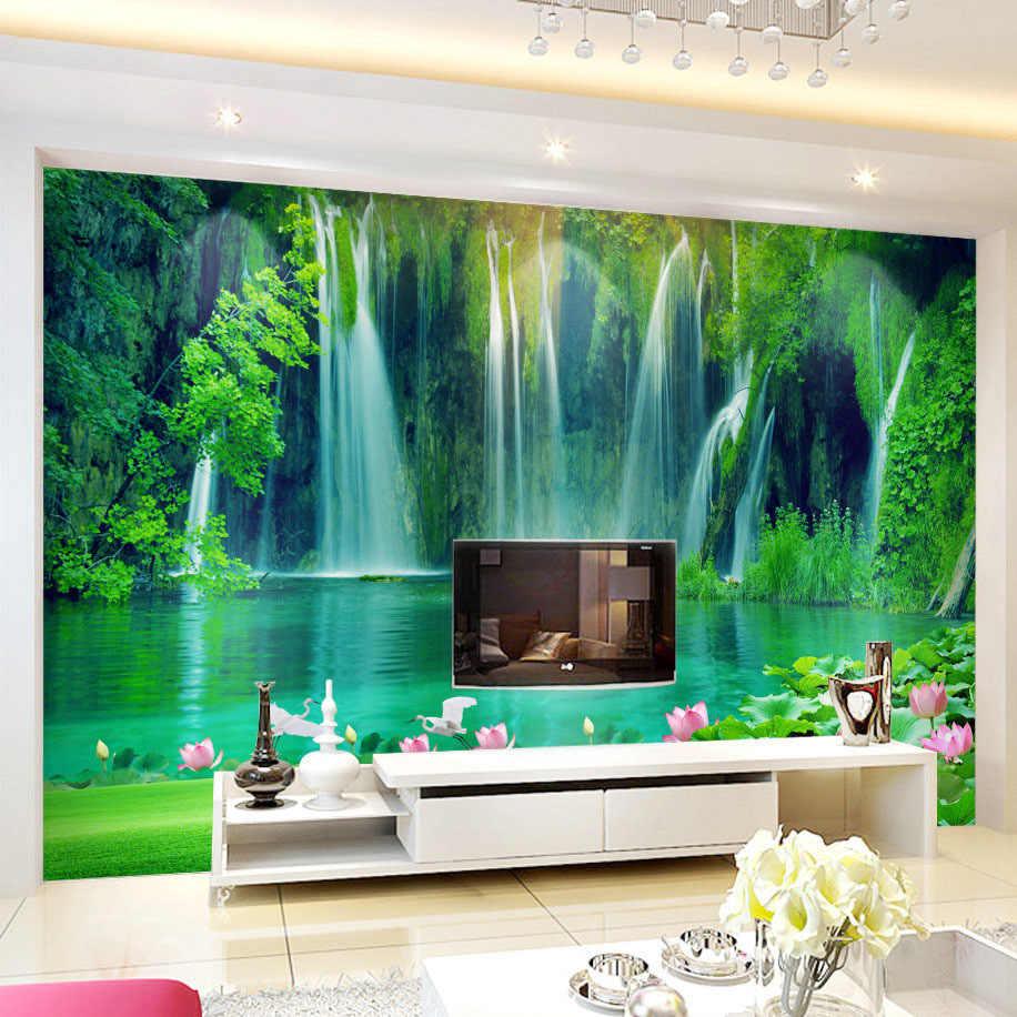 مخصص صور ورق حائط 3D شلال المشهد اللوحة غرفة المعيشة التلفزيون خلفية جدارية غير المنسوجة النسيج جدار تغطي خلفيات